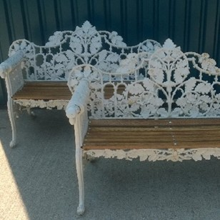 Pair oak and ivy pattern coalbrookdale style seats