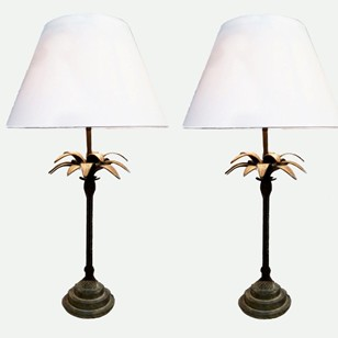 A pair of 1940's bronze table lamps