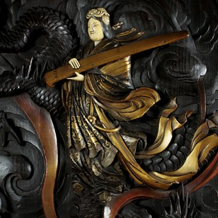 Japanese Carved Panel of the Goddess Benzaiten
