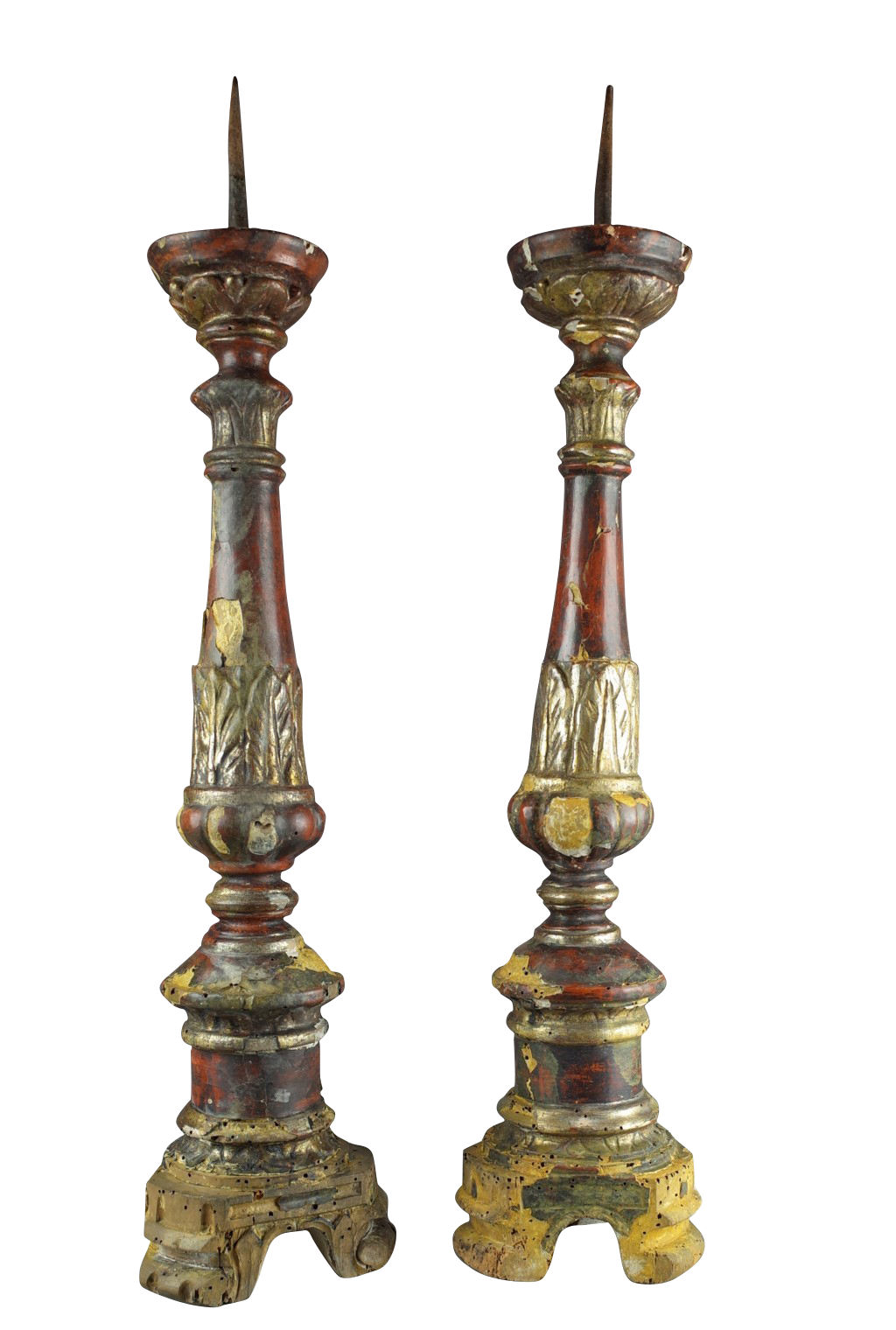 pair of polychromed gilt pricket sticks decorative collective. Black Bedroom Furniture Sets. Home Design Ideas