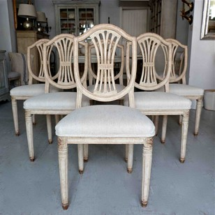 A Set of Six Swedish Gustavian Style Dining Chairs