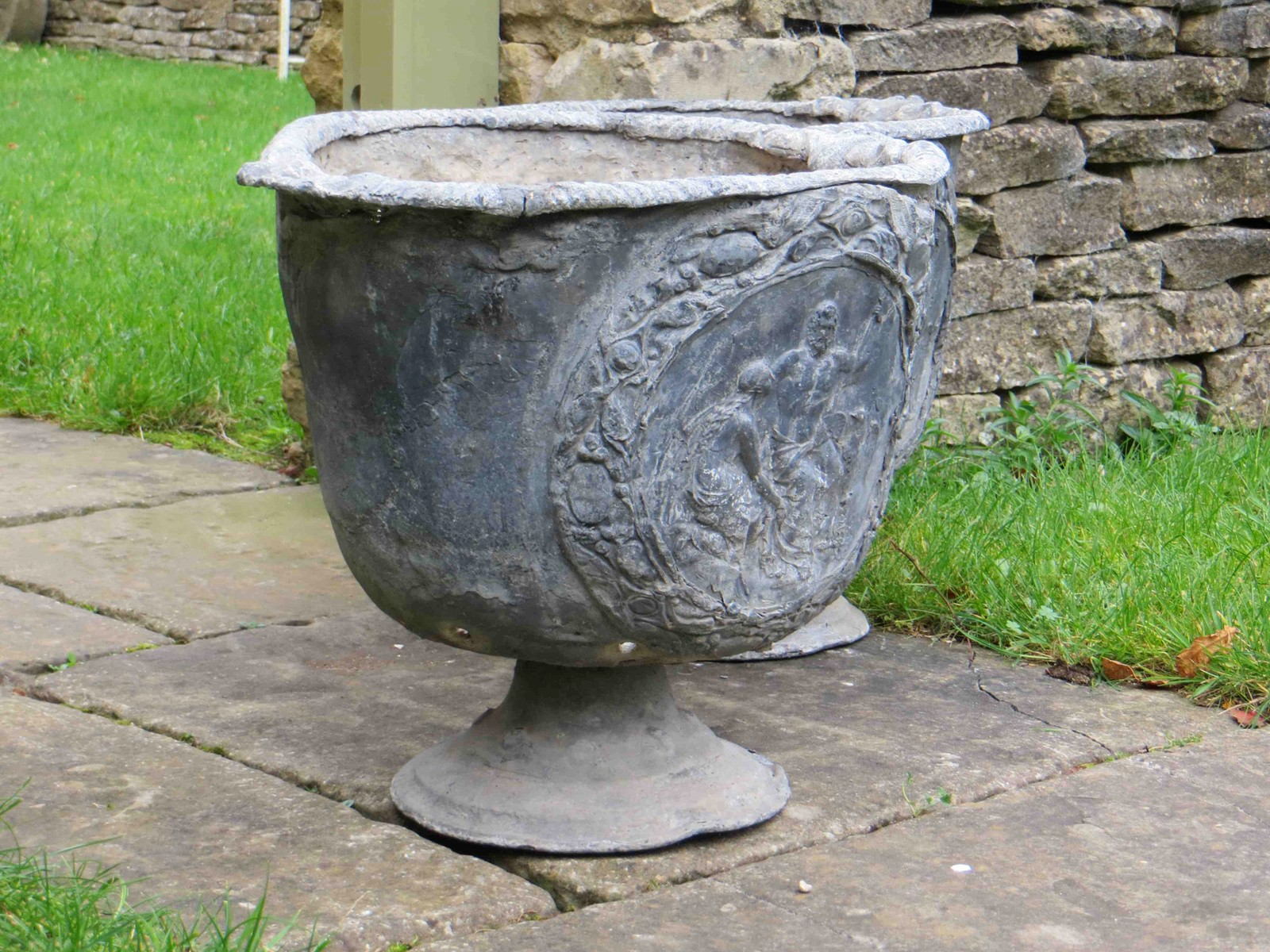 Pair of antique lead planters decorative collective for Lead planters for sale