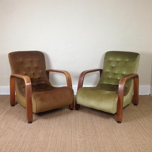A pair of English Art Deco oak armchairs c 1935