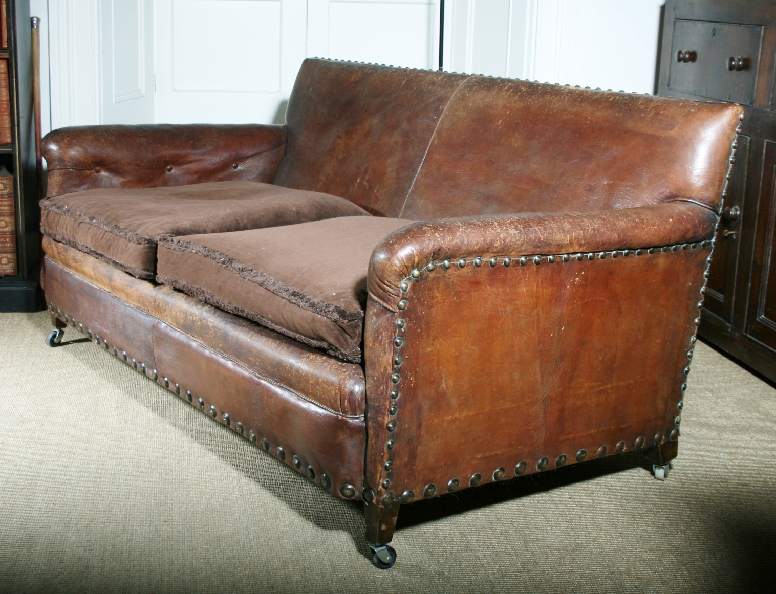Buy antiques collectibles online decorative collective for Studded leather sofa